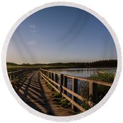 Round Beach Towel featuring the photograph Bridge Across Shining Waters by Chris Bordeleau