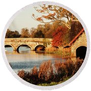 Round Beach Towel featuring the photograph Bridge And Boat House On The Rye Water - Maynooth, Ireland by Barry O Carroll