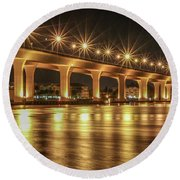 Bridge And Golden Water Round Beach Towel