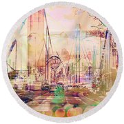 Round Beach Towel featuring the photograph Bridge And Grain Belt Beer Sign by Susan Stone