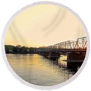 Bridge And New Hope At Sunset Round Beach Towel