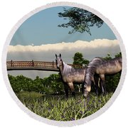 Round Beach Towel featuring the digital art Bridge And Two Horses by Walter Colvin