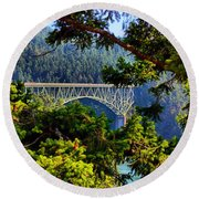 Bridge At Deception Pass Round Beach Towel