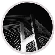 Bridge At Night Black And White Round Beach Towel