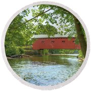 Bridge At The Green Round Beach Towel