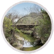 Bridge At The Zoo Round Beach Towel by Ricky Dean