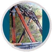 Bridge At Thurmond Wv Round Beach Towel