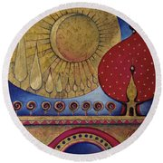 Round Beach Towel featuring the painting Bridge Between Sunrise And Moonrise by Anna Ewa Miarczynska