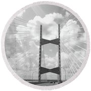 Bridge Clouds Round Beach Towel