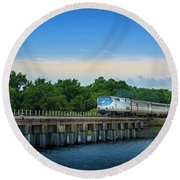 Bridge Crossing Round Beach Towel by Marvin Spates