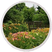 Round Beach Towel featuring the photograph Bridge In Daylily Garden by Sandy Keeton