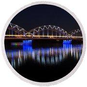 Bridge In Riga  Round Beach Towel