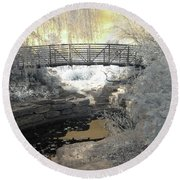 Bridge In Shades Of Infrared Round Beach Towel