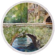 Bridge In Spain Round Beach Towel by Robin Miller-Bookhout