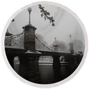 Bridge In Suspension 1867 Round Beach Towel by Robert Nickologianis