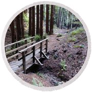 Bridge In The Redwoods Round Beach Towel