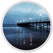 Bridge In The Sea Round Beach Towel