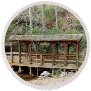 Bridge In The Woods Round Beach Towel by Cathy Harper