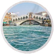 Round Beach Towel featuring the photograph Bridge In Venice by Roberta Byram