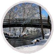 Bridge In Winter Round Beach Towel