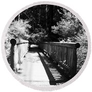 Round Beach Towel featuring the photograph Bridge In Woods by Yulia Kazansky