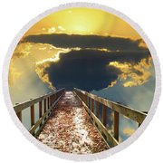 Bridge Into Sunset Round Beach Towel
