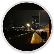Round Beach Towel featuring the photograph Bridge Into The Night by Felipe Adan Lerma