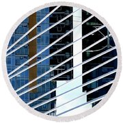 Round Beach Towel featuring the photograph Bridge Lines by Jerry Sodorff