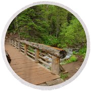 Bridge Near Bear Lake Trail Round Beach Towel