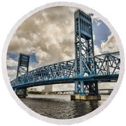 Bridge Of Blues Round Beach Towel