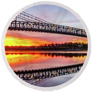 Bridge Of Fire And Ice Round Beach Towel