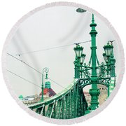 Bridge Of Liberty In Budapest Round Beach Towel