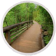 Bridge On Alberta Falls Trail Round Beach Towel