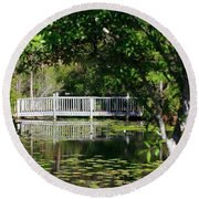Bridge On Lilly Pond Round Beach Towel