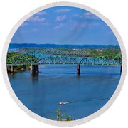 Bridge On The Ohio River Round Beach Towel