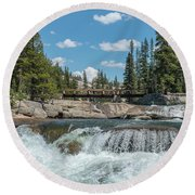 Bridge On The Pct Round Beach Towel