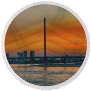 Bridge On The Rhine River Round Beach Towel