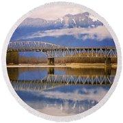 Round Beach Towel featuring the photograph Bridge Over Calm Waters by Jordan Blackstone