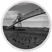 Round Beach Towel featuring the photograph Bridge Over Columbia by Jeff Kolker