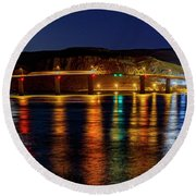 Round Beach Towel featuring the photograph Bridge Over Columbia Waters by Cat Connor