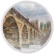 Bridge Over Frozen Water Round Beach Towel