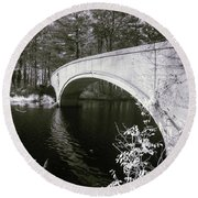 Bridge Over Infrared Waters Round Beach Towel