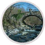 Bridge Over Peaceful Waters - Il Ponte Sul Ciae' Round Beach Towel