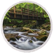 Bridge Over Rocky Water Round Beach Towel