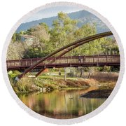 Bridge Over The Creek Round Beach Towel