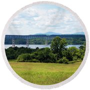 Round Beach Towel featuring the photograph Bridge Over The Hudson by Jeff Severson