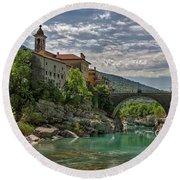Round Beach Towel featuring the photograph Bridge Over The Soca - Kanal Slovenia by Stuart Litoff