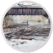 Bridge Over Troubled Waters Round Beach Towel by EricaMaxine  Price