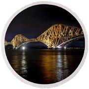Bridge Over Water Lights. Round Beach Towel