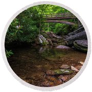 Bridge Over Wilson Creek Round Beach Towel